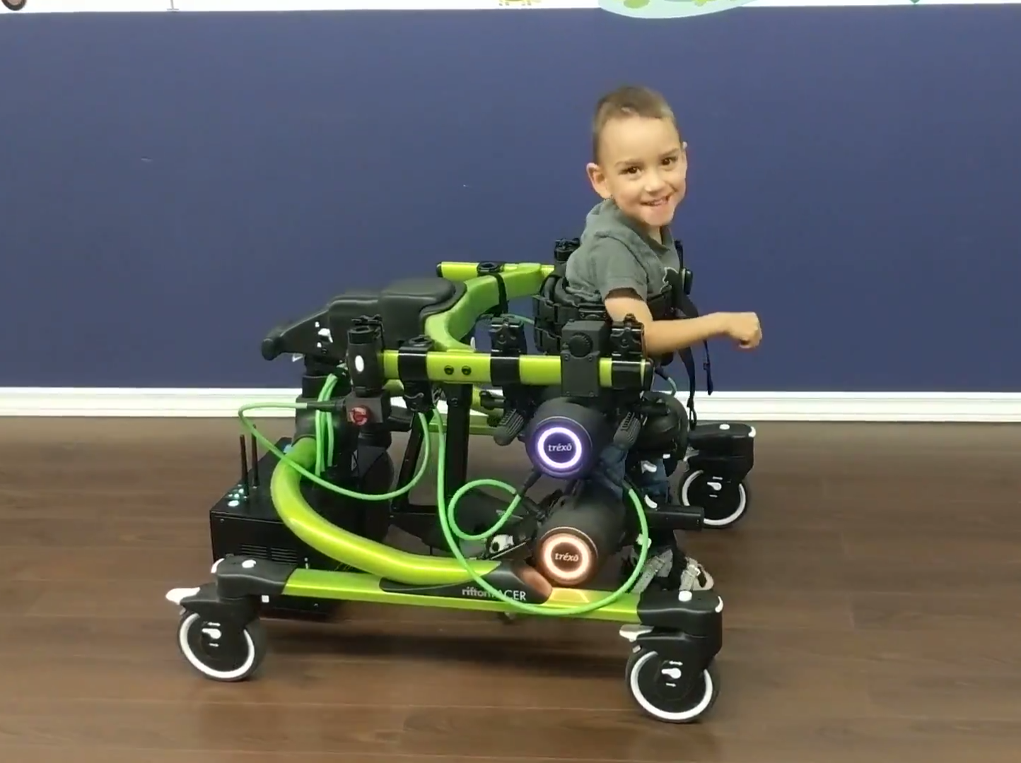 3 year old Lucas who has cerebral palsy, walks with Trexo